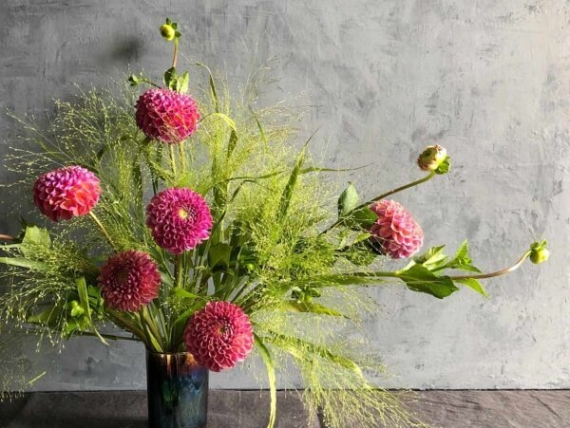 Dahlias & Explosion Grass Arrangement, photo by Flowers with Emily