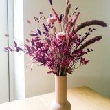 Pink Purple Dried Flower Arrangement in Window Light